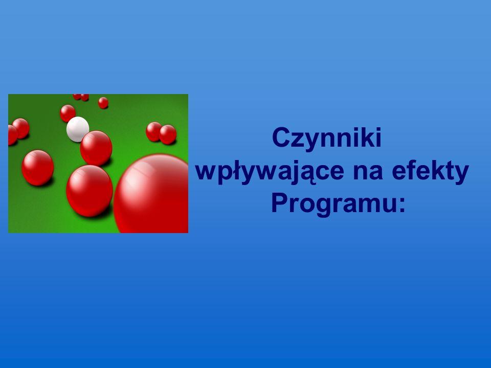 Czynniki wpływające na efekty Programu: