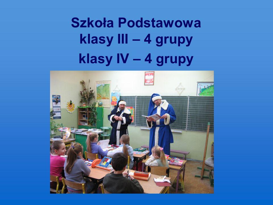Szkoła Podstawowa klasy III – 4 grupy klasy IV – 4 grupy