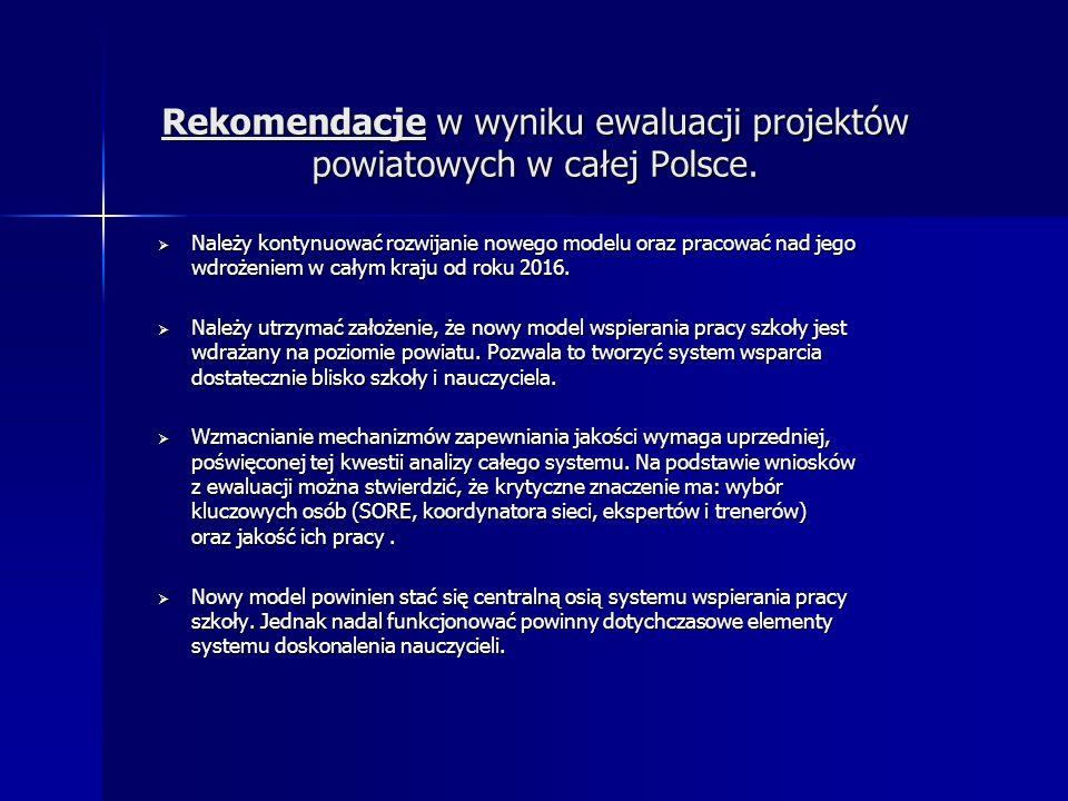 Rekomendacje w wyniku ewaluacji projektów powiatowych w całej Polsce.