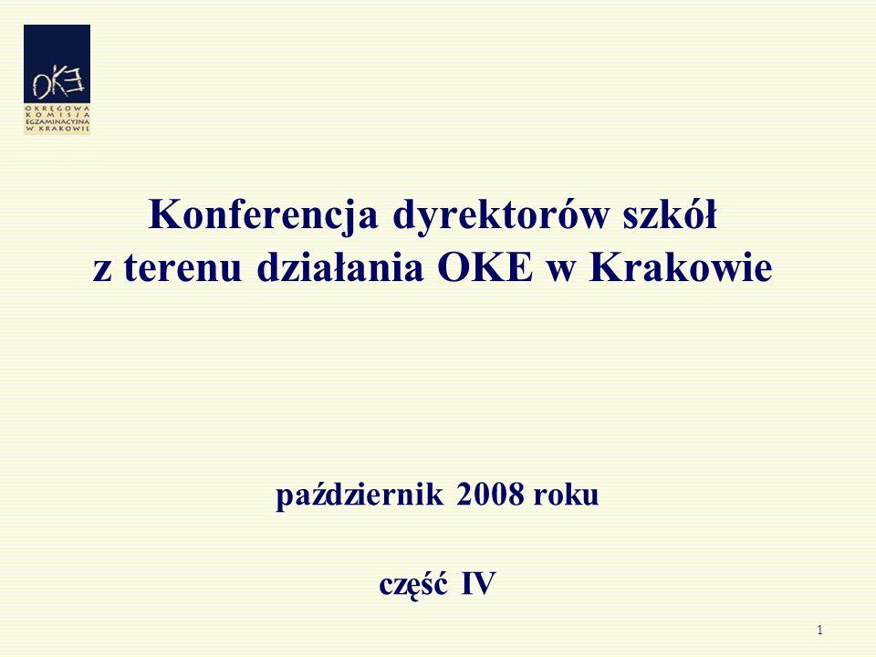 1 Konferencja dyrektorów szkół z terenu działania OKE w Krakowie październik 2008 roku część IV