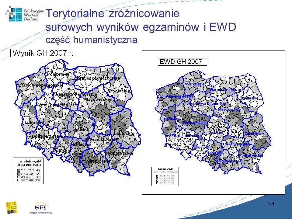 14 Terytorialne zróżnicowanie surowych wyników egzaminów i EWD część humanistyczna