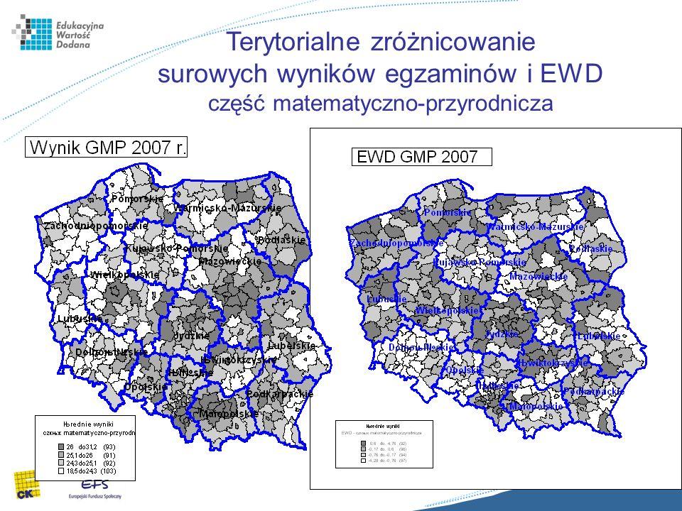 15 Terytorialne zróżnicowanie surowych wyników egzaminów i EWD część matematyczno-przyrodnicza