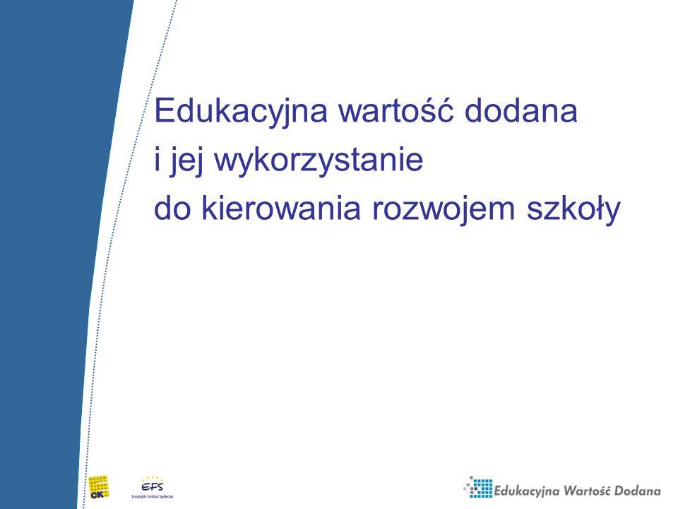Edukacyjna wartość dodana i jej wykorzystanie do kierowania rozwojem szkoły