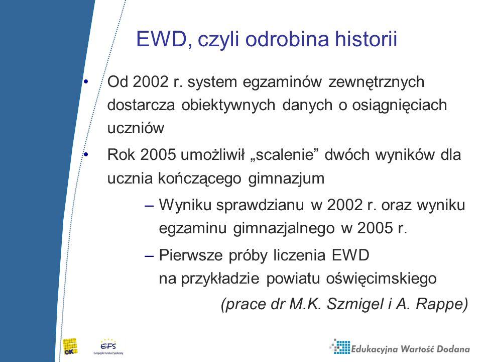 """EWD, czyli odrobina historii Od 2002 r. system egzaminów zewnętrznych dostarcza obiektywnych danych o osiągnięciach uczniów Rok 2005 umożliwił """"scalen"""