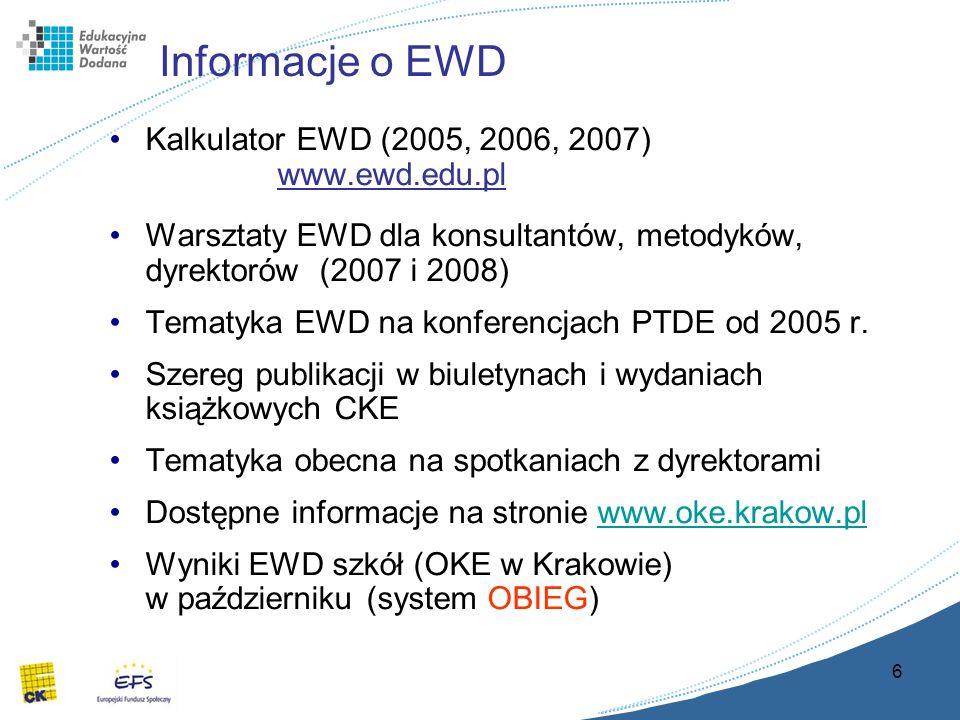 6 Informacje o EWD Kalkulator EWD (2005, 2006, 2007) www.ewd.edu.pl Warsztaty EWD dla konsultantów, metodyków, dyrektorów (2007 i 2008) Tematyka EWD na konferencjach PTDE od 2005 r.