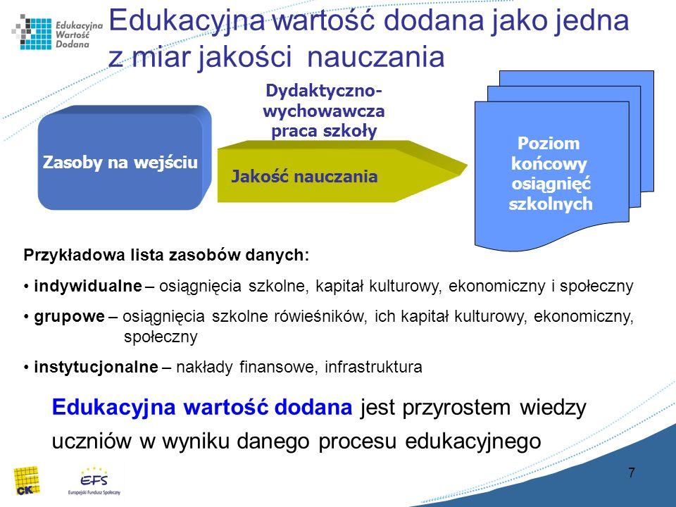 7 Edukacyjna wartość dodana jako jedna z miar jakości nauczania Poziom końcowy osiągnięć szkolnych Zasoby na wejściu Jakość nauczania Dydaktyczno- wychowawcza praca szkoły Edukacyjna wartość dodana jest przyrostem wiedzy uczniów w wyniku danego procesu edukacyjnego Przykładowa lista zasobów danych: indywidualne – osiągnięcia szkolne, kapitał kulturowy, ekonomiczny i społeczny grupowe – osiągnięcia szkolne rówieśników, ich kapitał kulturowy, ekonomiczny, społeczny instytucjonalne – nakłady finansowe, infrastruktura