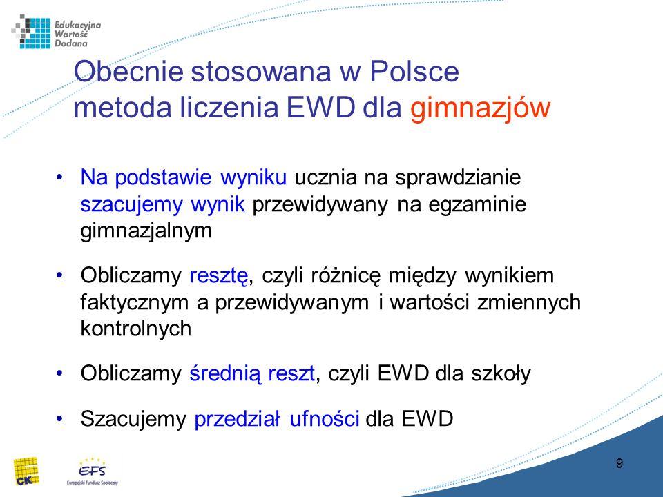 9 Obecnie stosowana w Polsce metoda liczenia EWD dla gimnazjów Na podstawie wyniku ucznia na sprawdzianie szacujemy wynik przewidywany na egzaminie gimnazjalnym Obliczamy resztę, czyli różnicę między wynikiem faktycznym a przewidywanym i wartości zmiennych kontrolnych Obliczamy średnią reszt, czyli EWD dla szkoły Szacujemy przedział ufności dla EWD
