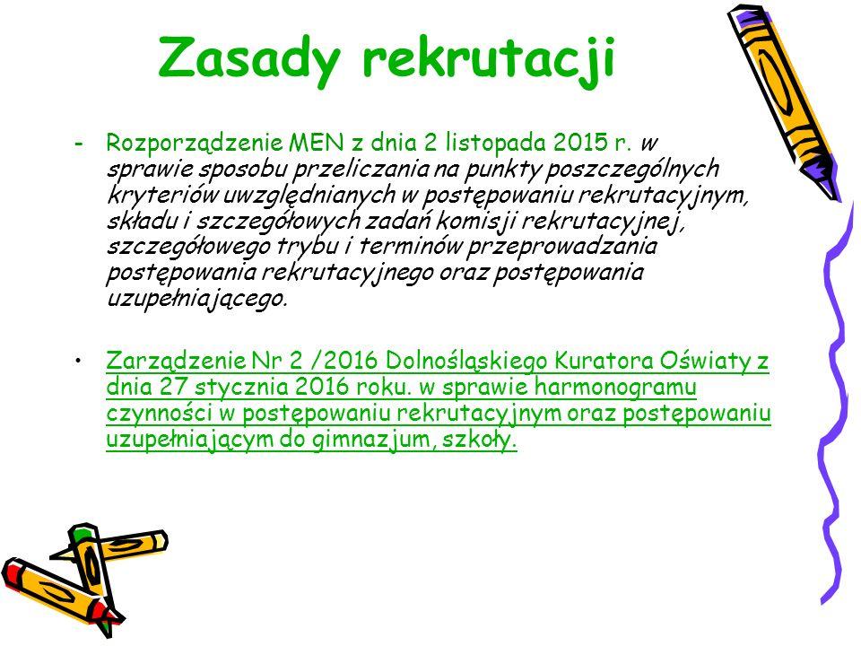 Zasady rekrutacji -Rozporządzenie MEN z dnia 2 listopada 2015 r.