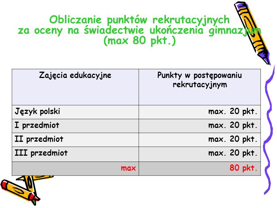 Obliczanie punktów rekrutacyjnych za oceny na świadectwie ukończenia gimnazjum (max 80 pkt.) Zajęcia edukacyjnePunkty w postępowaniu rekrutacyjnym Język polskimax.