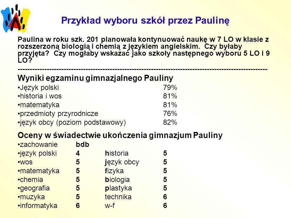 Przykład wyboru szkół przez Paulinę Paulina w roku szk. 201 planowała kontynuować naukę w 7 LO w klasie z rozszerzoną biologią i chemią z językiem ang