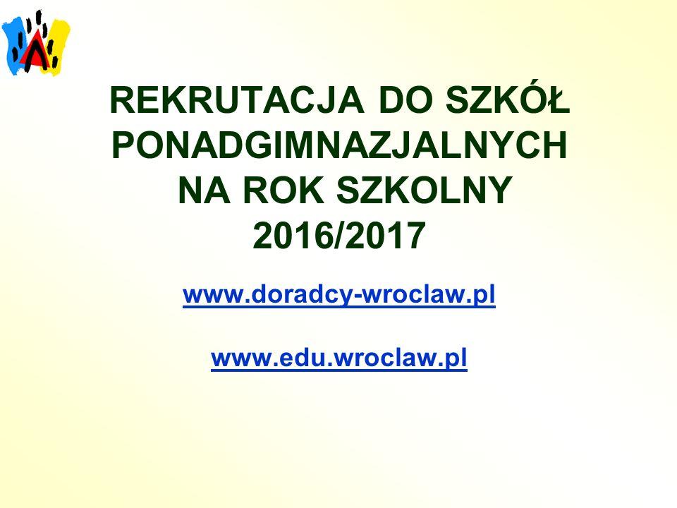 REKRUTACJA DO SZKÓŁ PONADGIMNAZJALNYCH NA ROK SZKOLNY 2016/2017 www.doradcy-wroclaw.pl www.edu.wroclaw.pl