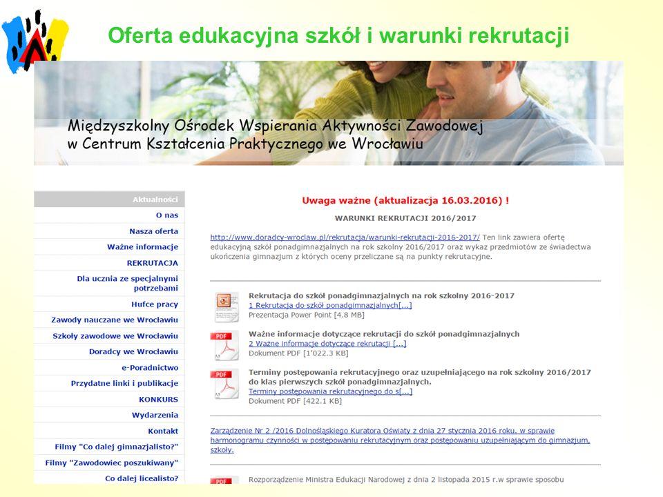 Oferta edukacyjna szkół i warunki rekrutacji