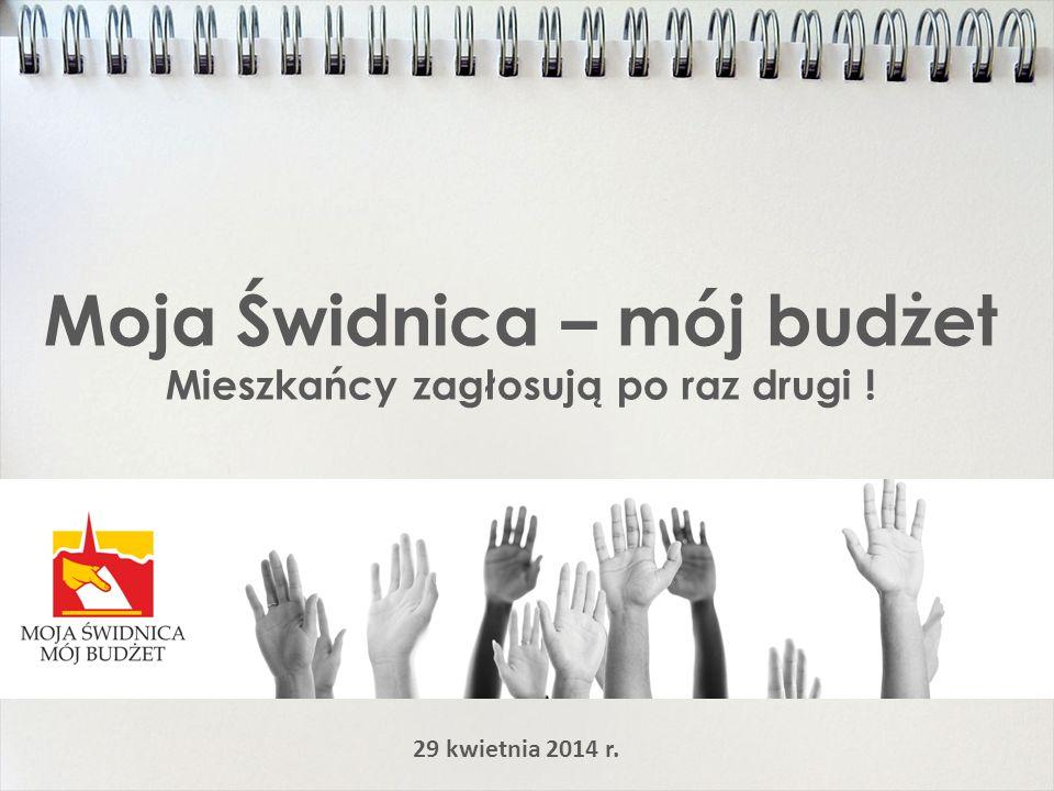 Moja Świdnica – mój budżet Mieszkańcy zagłosują po raz drugi ! 29 kwietnia 2014 r.