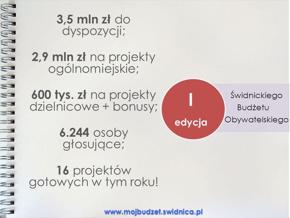3,5 mln zł do dyspozycji; 2,9 mln zł na projekty ogólnomiejskie; 600 tys.