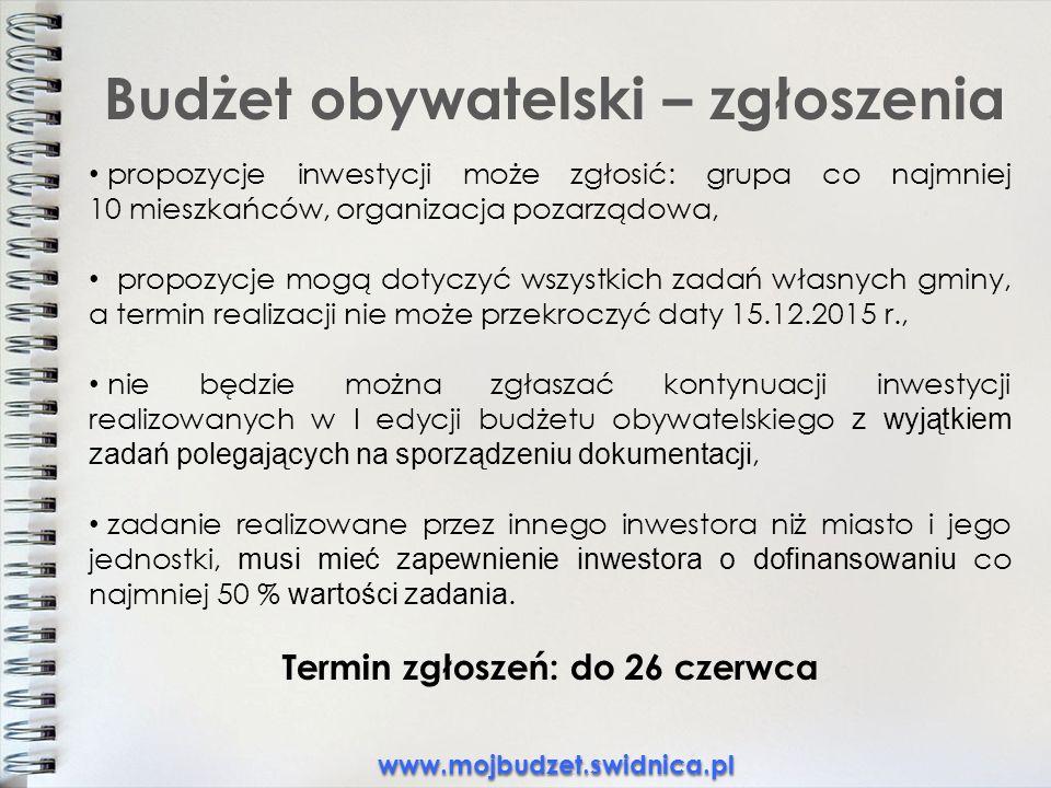 Budżet obywatelski – zgłoszenia propozycje inwestycji może zgłosić: grupa co najmniej 10 mieszkańców, organizacja pozarządowa, propozycje mogą dotyczyć wszystkich zadań własnych gminy, a termin realizacji nie może przekroczyć daty 15.12.2015 r., nie będzie można zgłaszać kontynuacji inwestycji realizowanych w I edycji budżetu obywatelskiego z wyjątkiem zadań polegających na sporządzeniu dokumentacji, zadanie realizowane przez innego inwestora niż miasto i jego jednostki, musi mieć zapewnienie inwestora o dofinansowaniu co najmniej 50 % wartości zadania.
