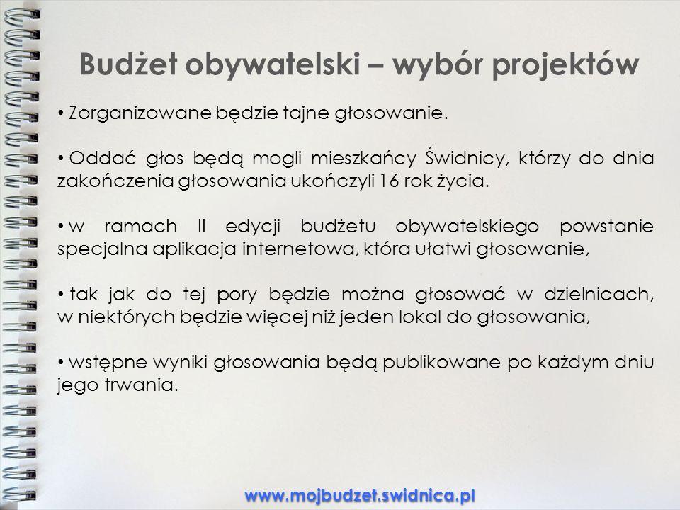 Budżet obywatelski – wybór projektów Zorganizowane będzie tajne głosowanie.