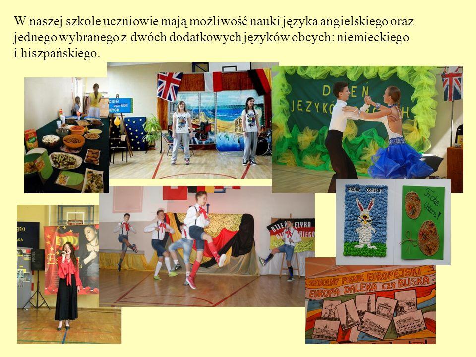 W naszej szkole uczniowie mają możliwość nauki języka angielskiego oraz jednego wybranego z dwóch dodatkowych języków obcych: niemieckiego i hiszpańsk