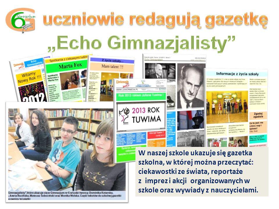 W naszej szkole ukazuje się gazetka szkolna, w której można przeczytać: ciekawostki ze świata, reportaże z imprez i akcji organizowanych w szkole oraz wywiady z nauczycielami.