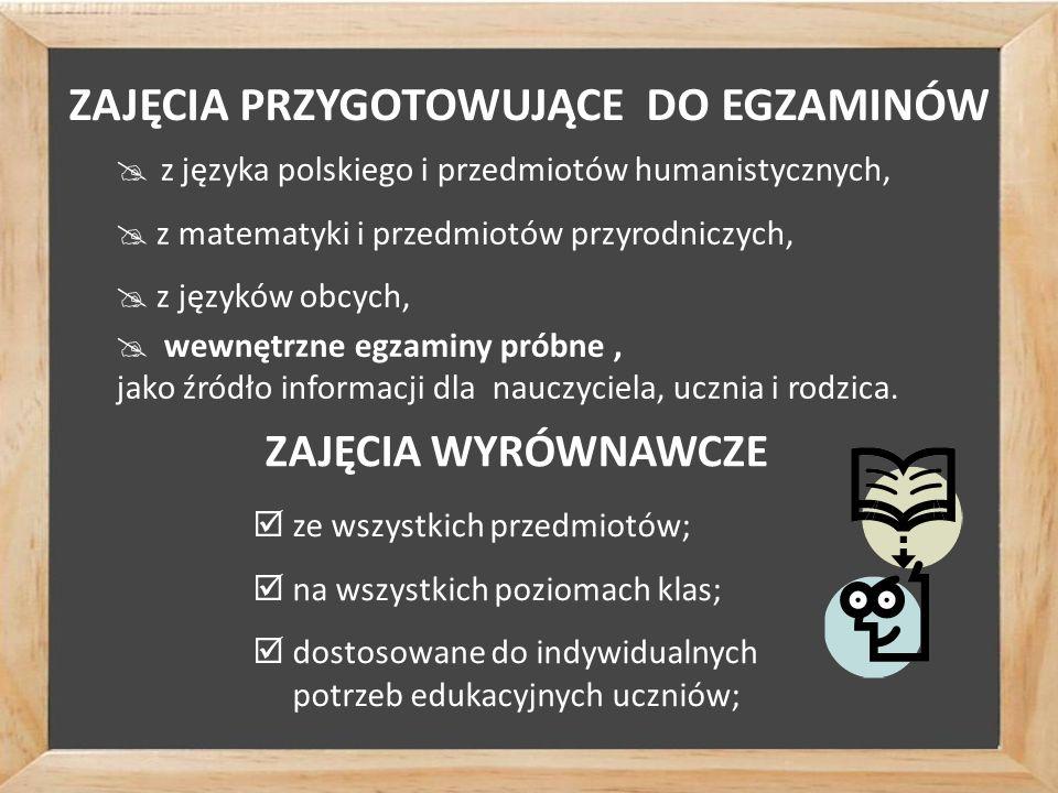 ZAJĘCIA PRZYGOTOWUJĄCE DO EGZAMINÓW  z języka polskiego i przedmiotów humanistycznych,  z matematyki i przedmiotów przyrodniczych,  z języków obcych,  wewnętrzne egzaminy próbne, jako źródło informacji dla nauczyciela, ucznia i rodzica.