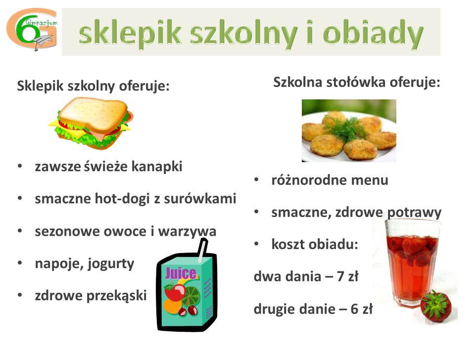Sklepik szkolny oferuje: zawsze świeże kanapki smaczne hot-dogi z surówkami sezonowe owoce i warzywa napoje, jogurty zdrowe przekąski Szkolna stołówka