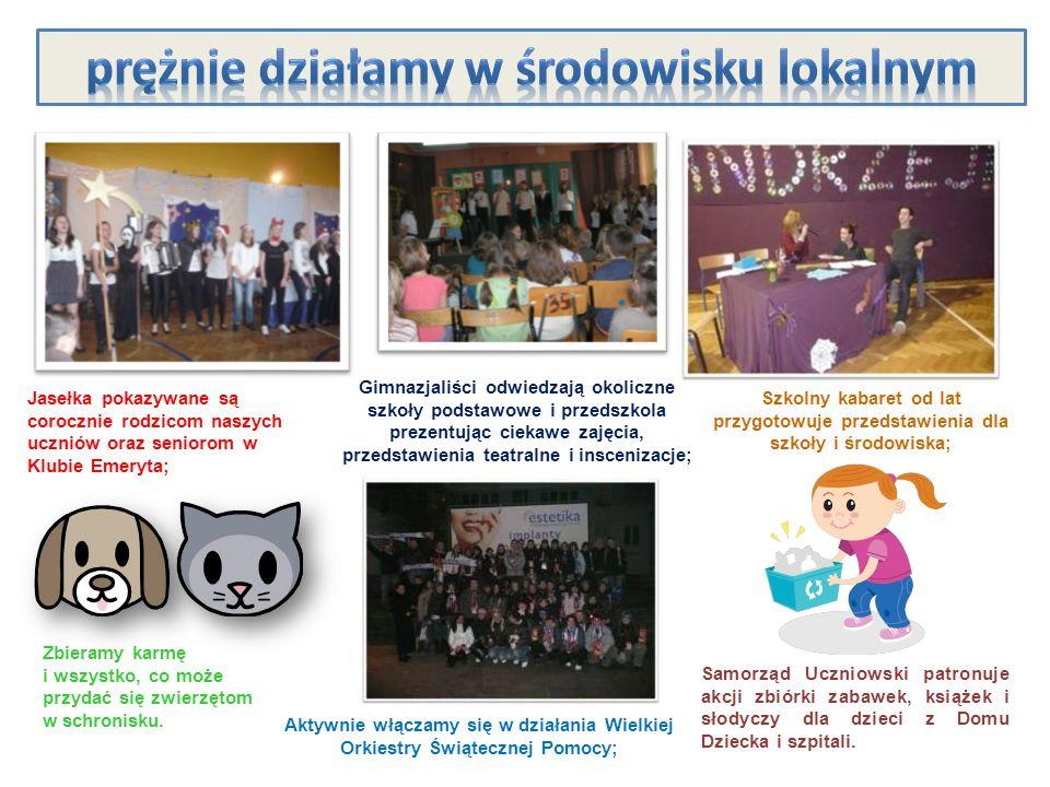 Jasełka pokazywane są corocznie rodzicom naszych uczniów oraz seniorom w Klubie Emeryta; Gimnazjaliści odwiedzają okoliczne szkoły podstawowe i przeds
