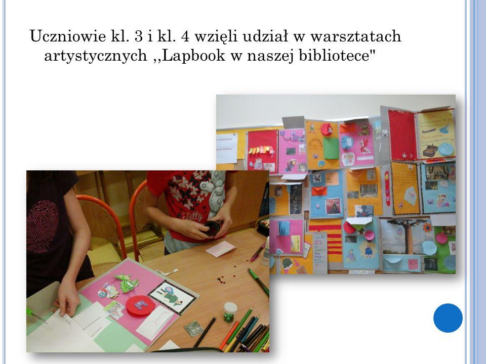 Uczniowie kl. 3 i kl. 4 wzięli udział w warsztatach artystycznych,,Lapbook w naszej bibliotece