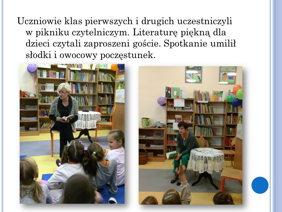 Uczniowie klas pierwszych i drugich uczestniczyli w pikniku czytelniczym.