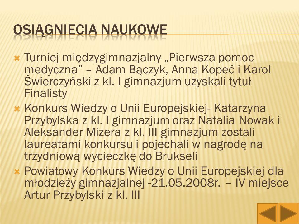  - Gminny turniej piłki siatkowej chłopców – 2 miejsce  - Etap powiatowy – pchnięcie kulą – 3 miejsce : Marcin Błaszczyk z kl.