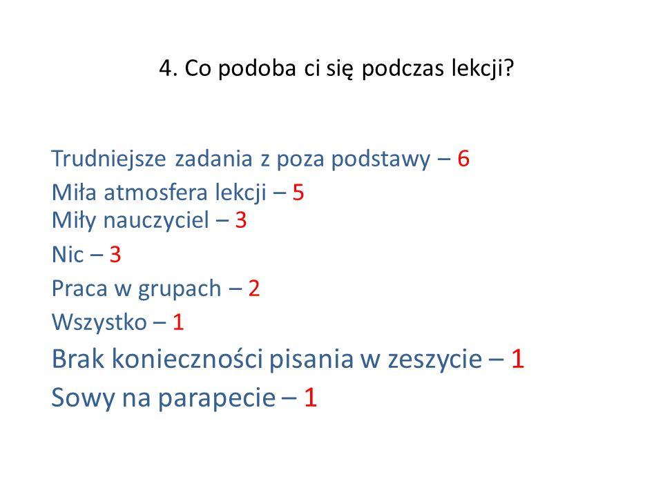 4.Co podoba ci się podczas lekcji.