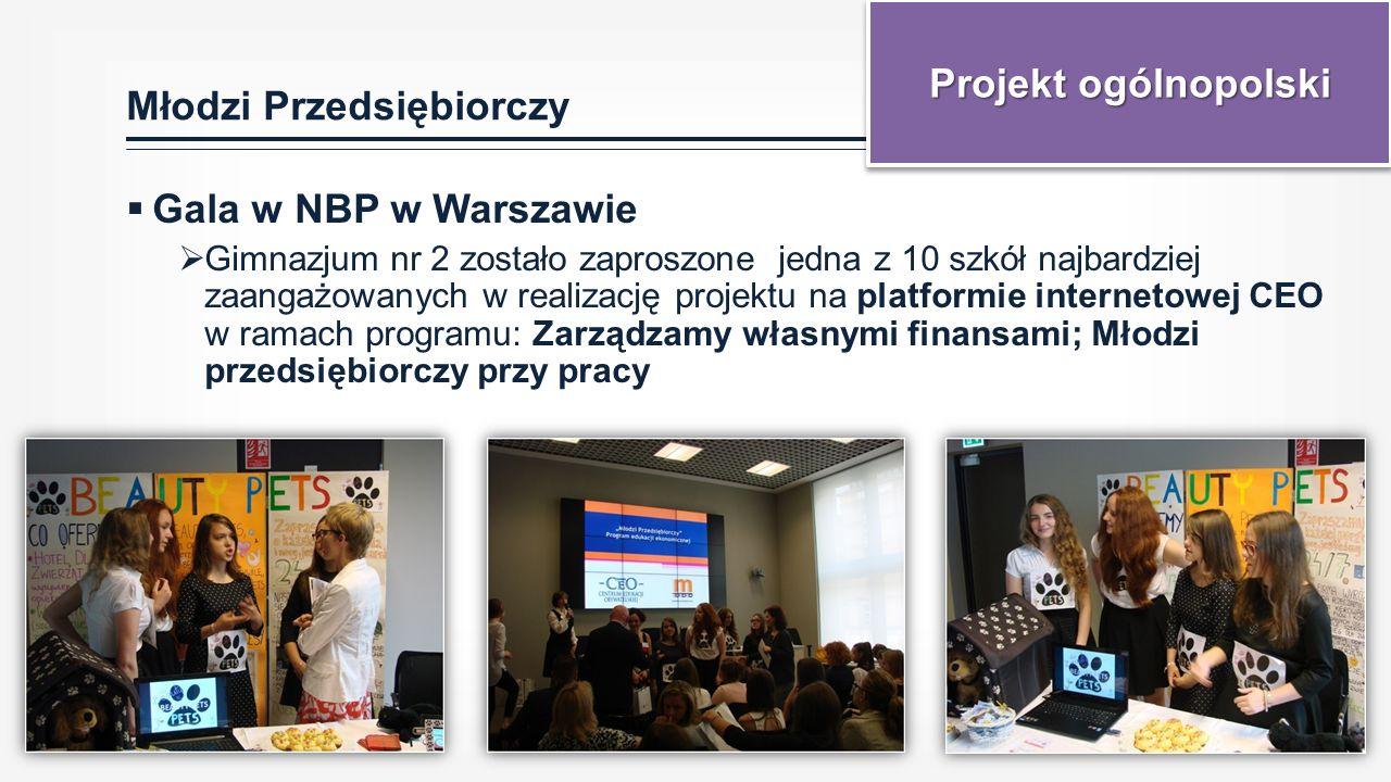 Młodzi Przedsiębiorczy  Gala w NBP w Warszawie  Gimnazjum nr 2 zostało zaproszone jedna z 10 szkół najbardziej zaangażowanych w realizację projektu na platformie internetowej CEO w ramach programu: Zarządzamy własnymi finansami; Młodzi przedsiębiorczy przy pracy Projekt ogólnopolski
