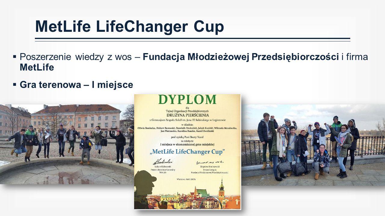  Poszerzenie wiedzy z wos – Fundacja Młodzieżowej Przedsiębiorczości i firma MetLife  Gra terenowa – I miejsce MetLife LifeChanger Cup