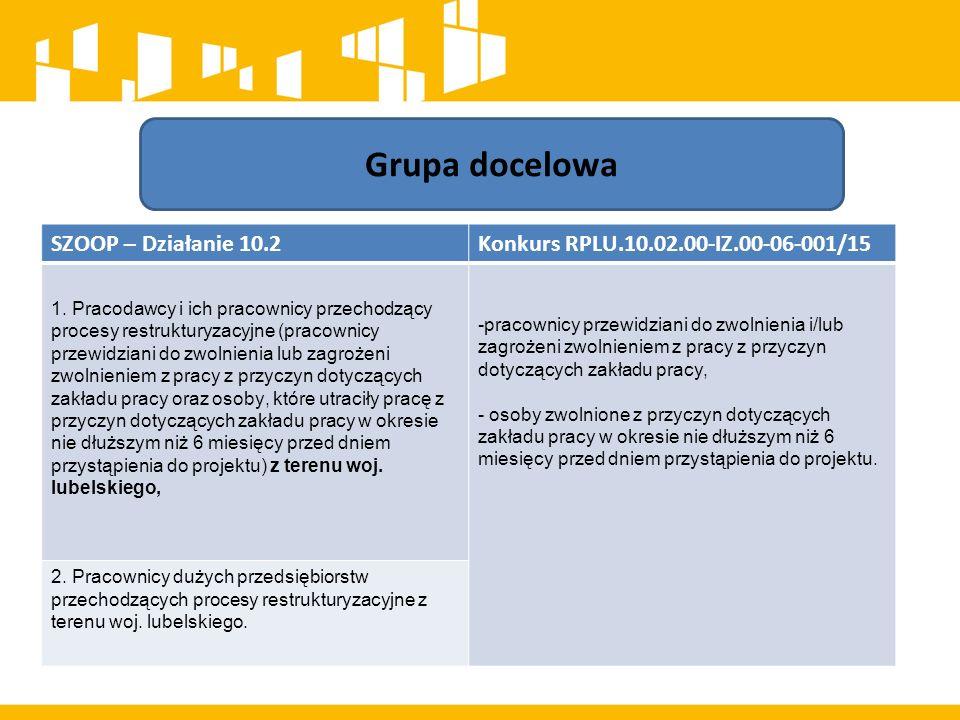 Grupa docelowa SZOOP – Działanie 10.2Konkurs RPLU.10.02.00-IZ.00-06-001/15 1.