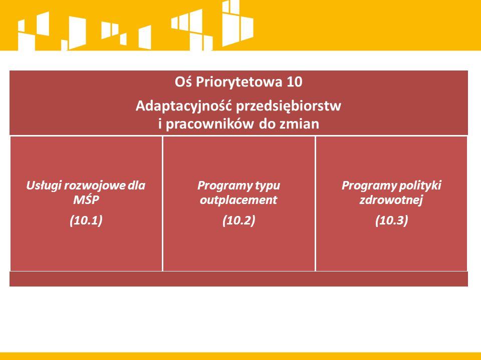 Oś Priorytetowa 10 Adaptacyjność przedsiębiorstw i pracowników do zmian Usługi rozwojowe dla MŚP (10.1) Programy typu outplacement (10.2) Programy polityki zdrowotnej (10.3)