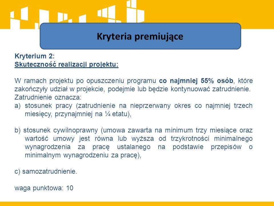 Kryterium 2: Skuteczność realizacji projektu: W ramach projektu po opuszczeniu programu co najmniej 55% osób, które zakończyły udział w projekcie, podejmie lub będzie kontynuować zatrudnienie.