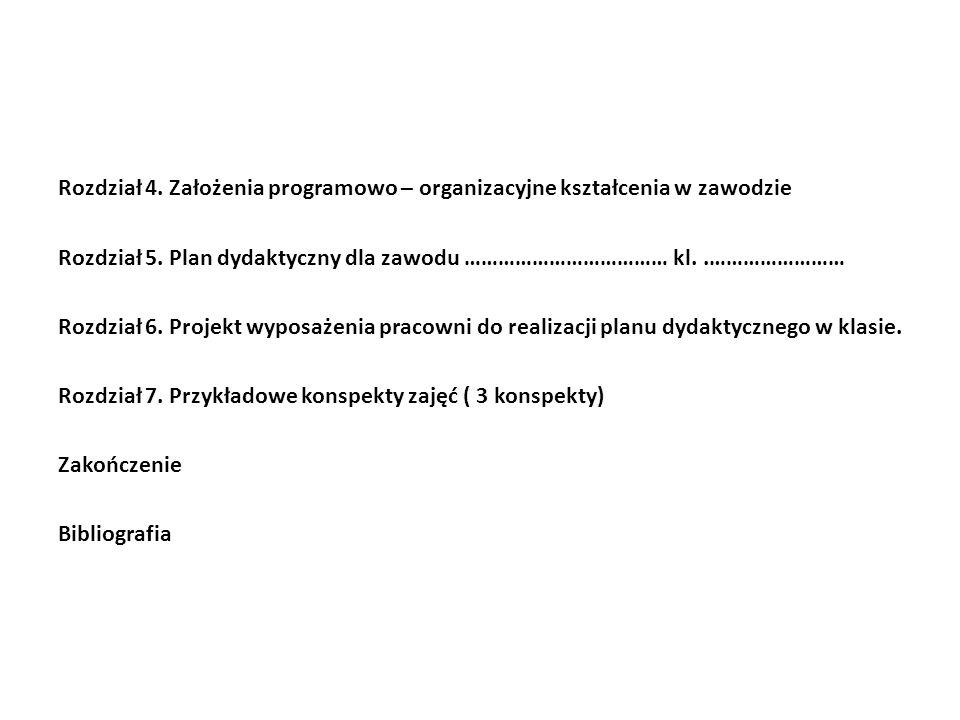Rozdział 4. Założenia programowo – organizacyjne kształcenia w zawodzie Rozdział 5.