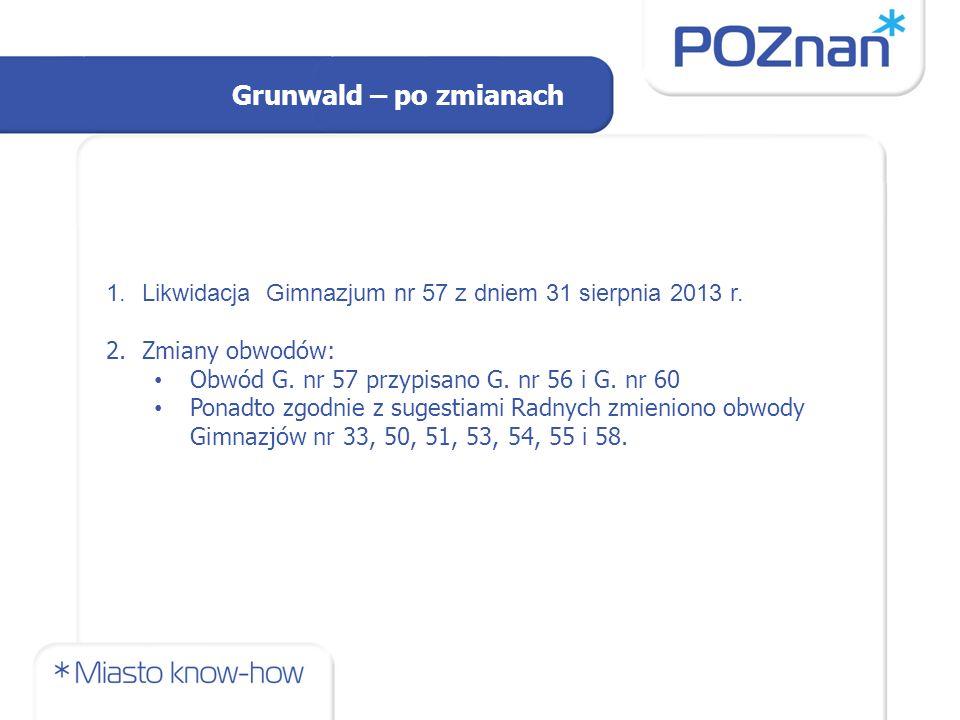 Grunwald – po zmianach 1.Likwidacja Gimnazjum nr 57 z dniem 31 sierpnia 2013 r.