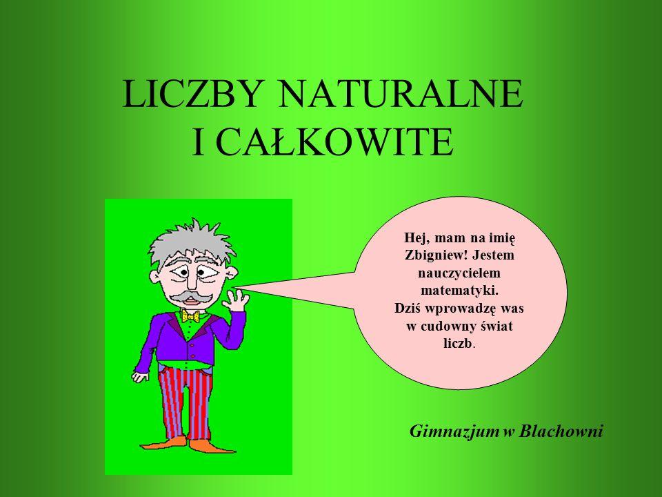 LICZBY NATURALNE I CAŁKOWITE Gimnazjum w Blachowni Hej, mam na imię Zbigniew.