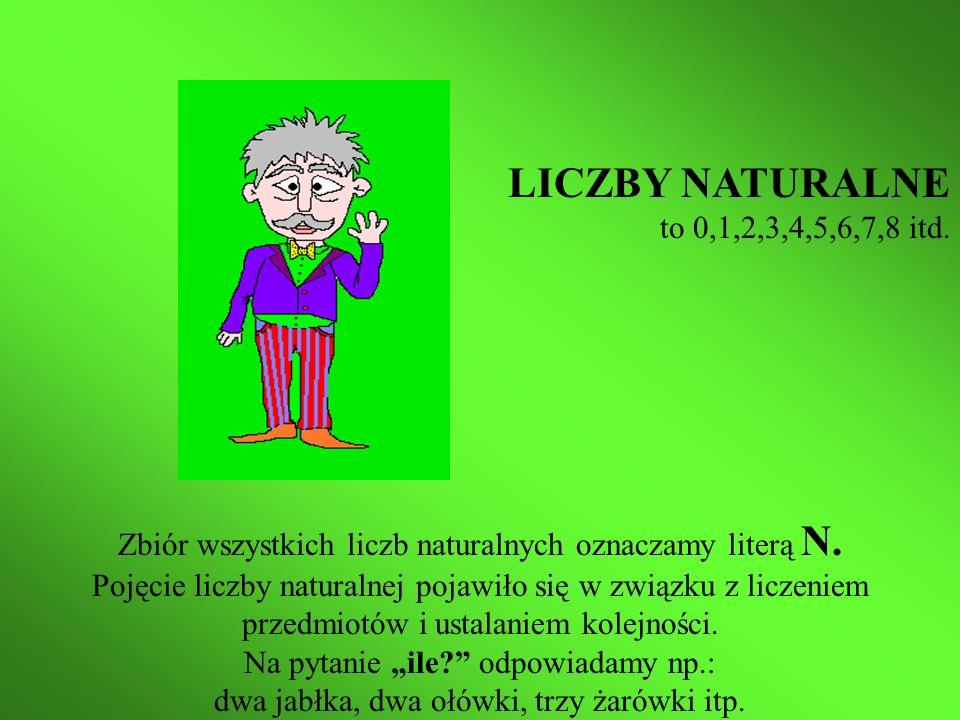 LICZBY NATURALNE to 0,1,2,3,4,5,6,7,8 itd. Zbiór wszystkich liczb naturalnych oznaczamy literą N.