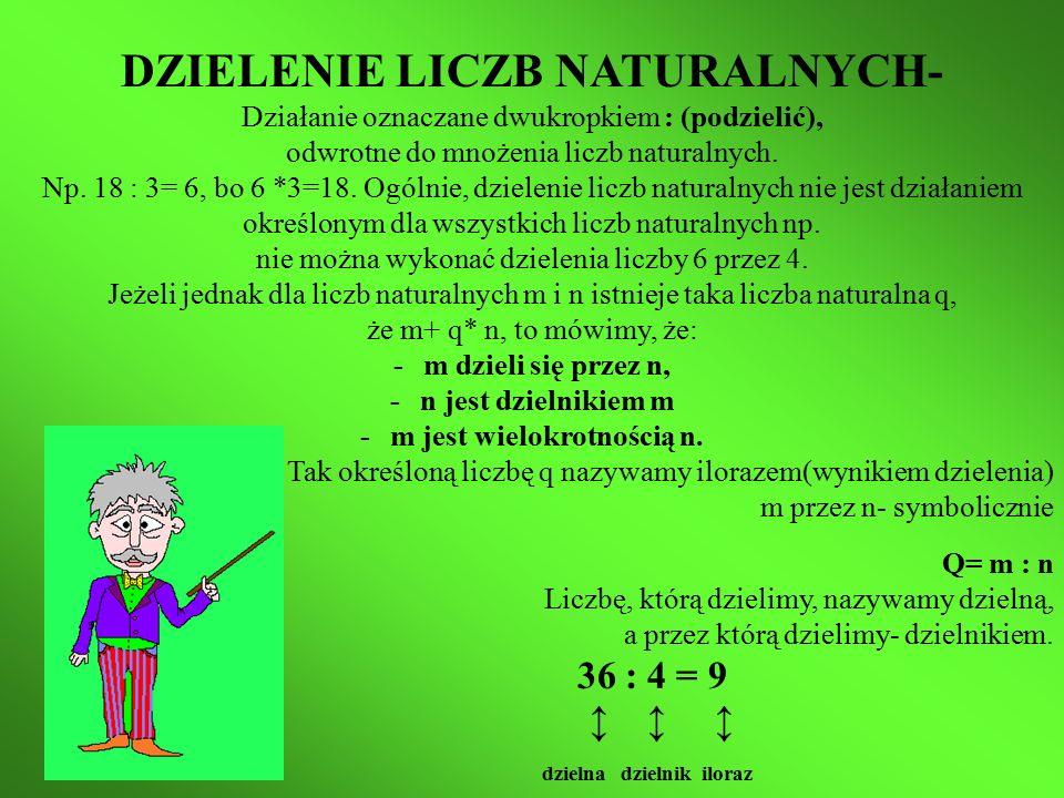 DZIELENIE LICZB NATURALNYCH- Działanie oznaczane dwukropkiem : (podzielić), odwrotne do mnożenia liczb naturalnych.