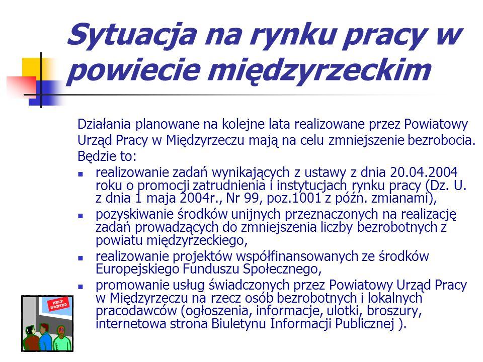 Sytuacja na rynku pracy w powiecie międzyrzeckim Działania planowane na kolejne lata realizowane przez Powiatowy Urząd Pracy w Międzyrzeczu mają na celu zmniejszenie bezrobocia.
