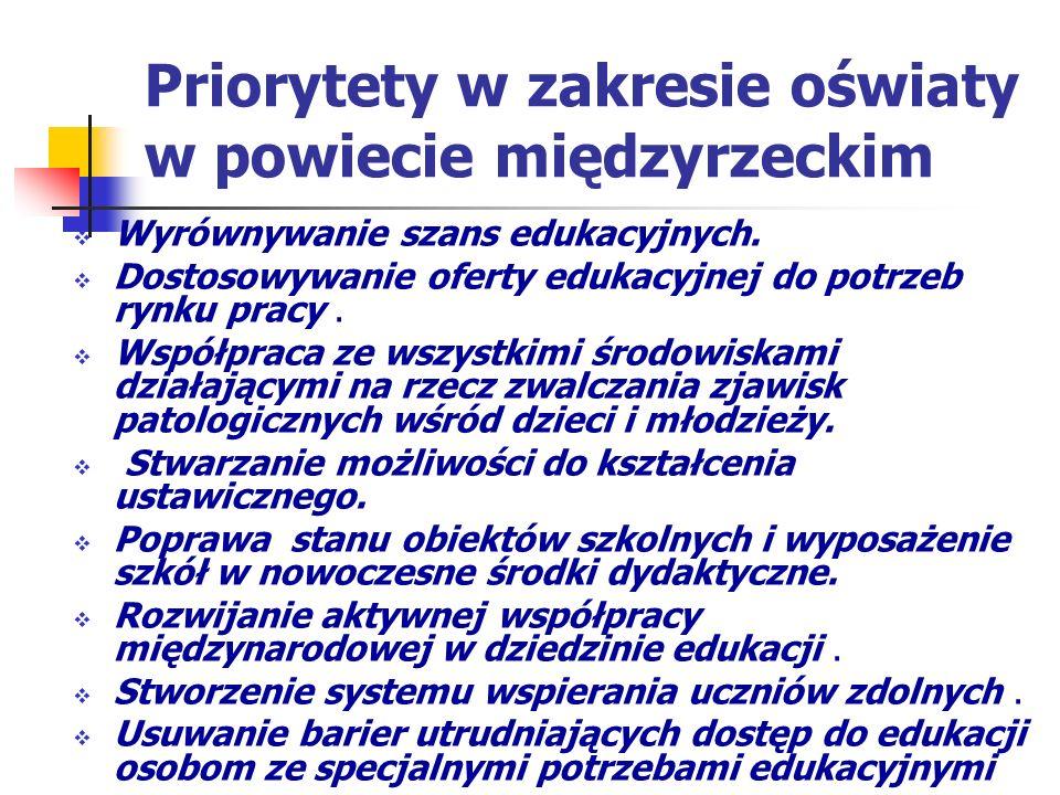 Priorytety w zakresie oświaty w powiecie międzyrzeckim  Wyrównywanie szans edukacyjnych.