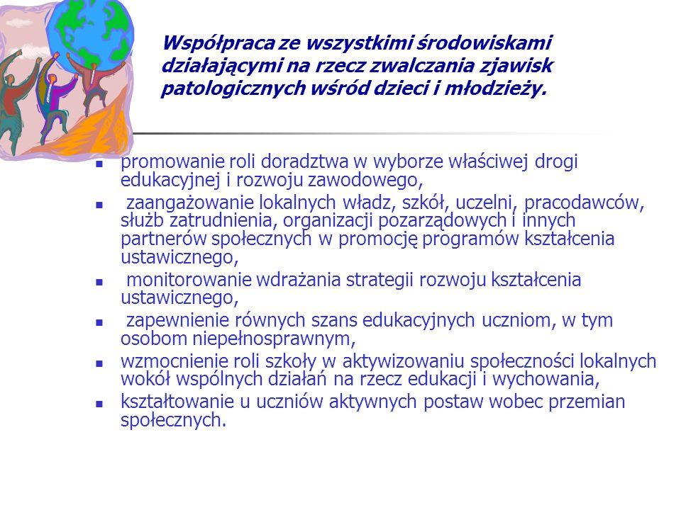 Współpraca ze wszystkimi środowiskami działającymi na rzecz zwalczania zjawisk patologicznych wśród dzieci i młodzieży.