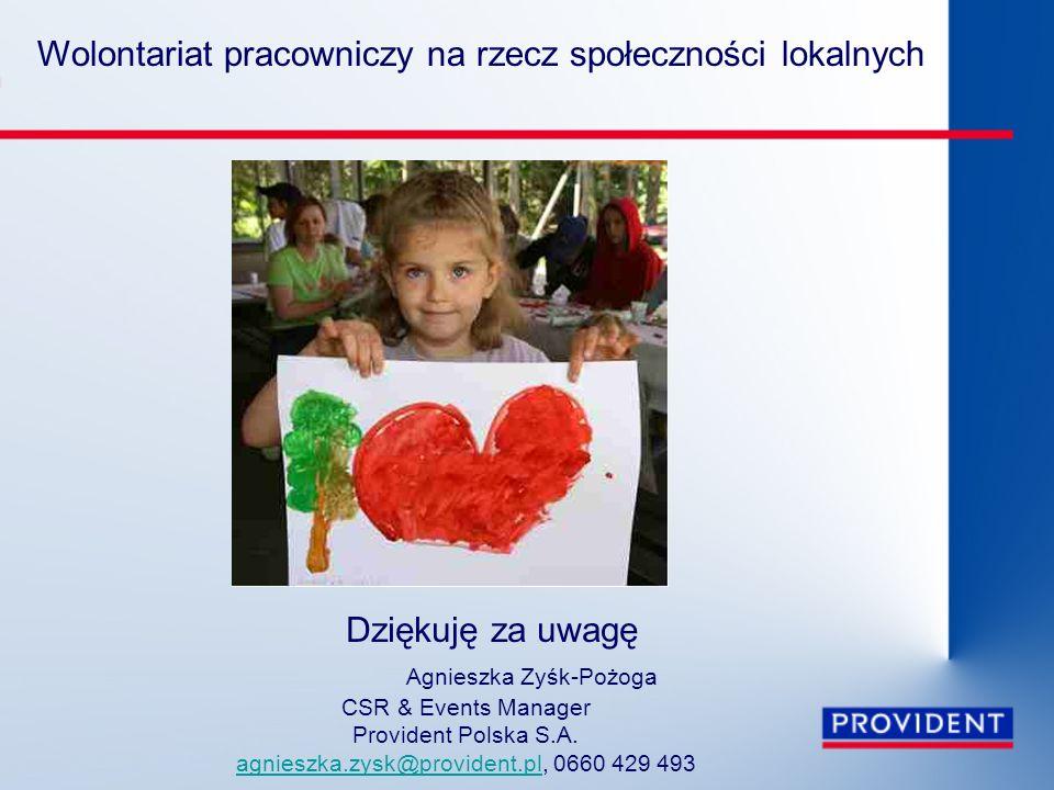 Wolontariat pracowniczy na rzecz społeczności lokalnych Dziękuję za uwagę Agnieszka Zyśk-Pożoga CSR & Events Manager Provident Polska S.A. agnieszka.z