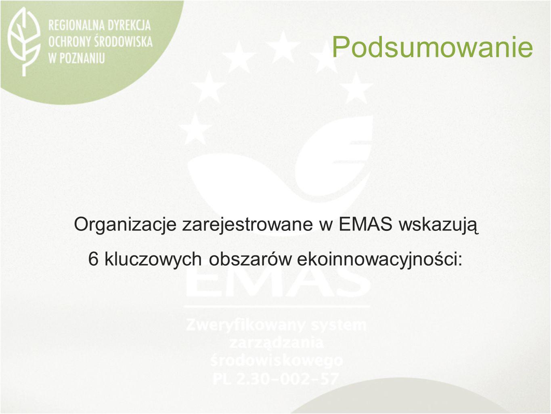 Organizacje zarejestrowane w EMAS wskazują 6 kluczowych obszarów ekoinnowacyjności: