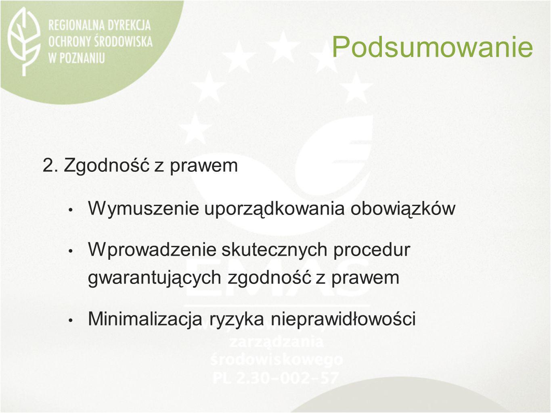 2. Zgodność z prawem Wymuszenie uporządkowania obowiązków Wprowadzenie skutecznych procedur gwarantujących zgodność z prawem Minimalizacja ryzyka niep