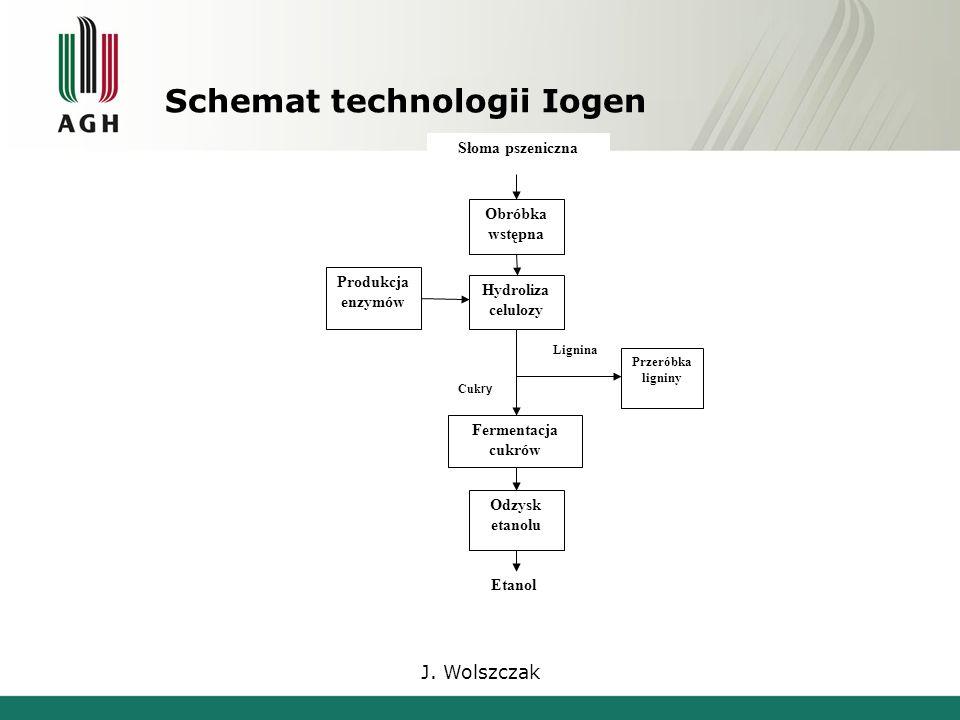 J. Wolszczak Schemat technologii Iogen Słoma pszeniczna Etanol Obróbka wstępna Produkcja enzymów Hydroliza celulozy Fermentacja cukrów Odzysk etanolu