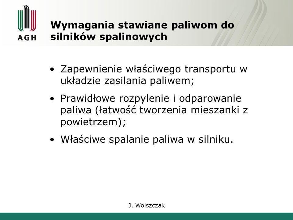 J. Wolszczak Wymagania stawiane paliwom do silników spalinowych Zapewnienie właściwego transportu w układzie zasilania paliwem; Prawidłowe rozpylenie