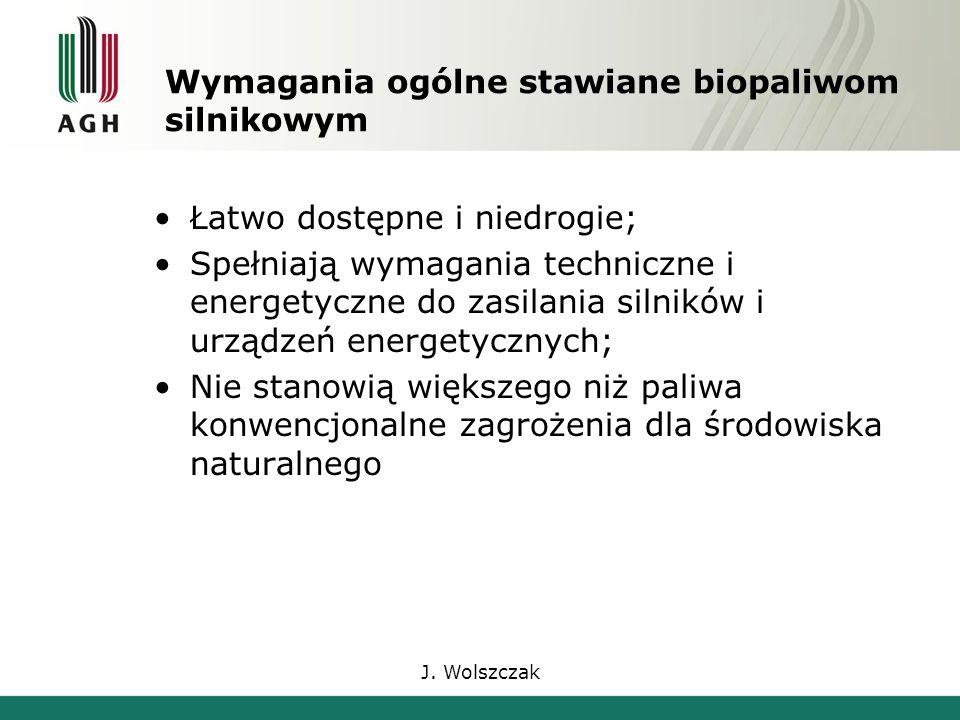 J. Wolszczak Wymagania ogólne stawiane biopaliwom silnikowym Łatwo dostępne i niedrogie; Spełniają wymagania techniczne i energetyczne do zasilania si