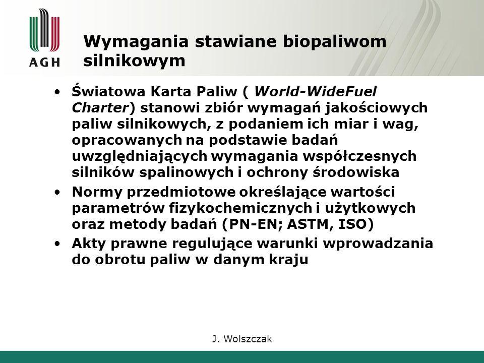 J. Wolszczak Wymagania stawiane biopaliwom silnikowym Światowa Karta Paliw ( World-WideFuel Charter) stanowi zbiór wymagań jakościowych paliw silnikow