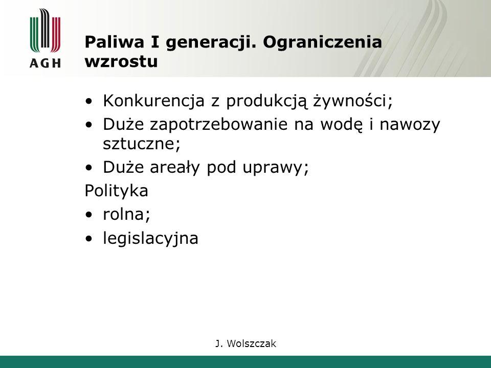 J. Wolszczak Paliwa I generacji.